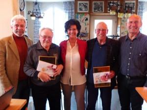Auf dem Bild sind zu sehen v.l. Harald Schmidt, Präsident des RKB Soliarität Bayern, der die Ehrung vorgenommen hat, dann Hans Bayer, Barbara Fesl, Kurt Bals und Jürgen Maluche.